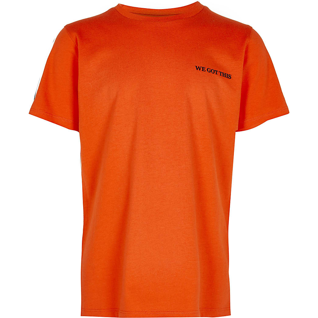 Boys orange 'We got this' back print t-shirt