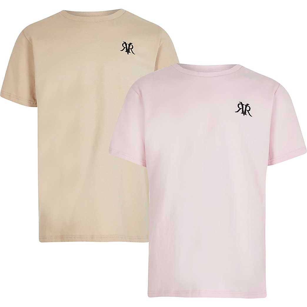 Boys pink and stone t-shirts 2 pack