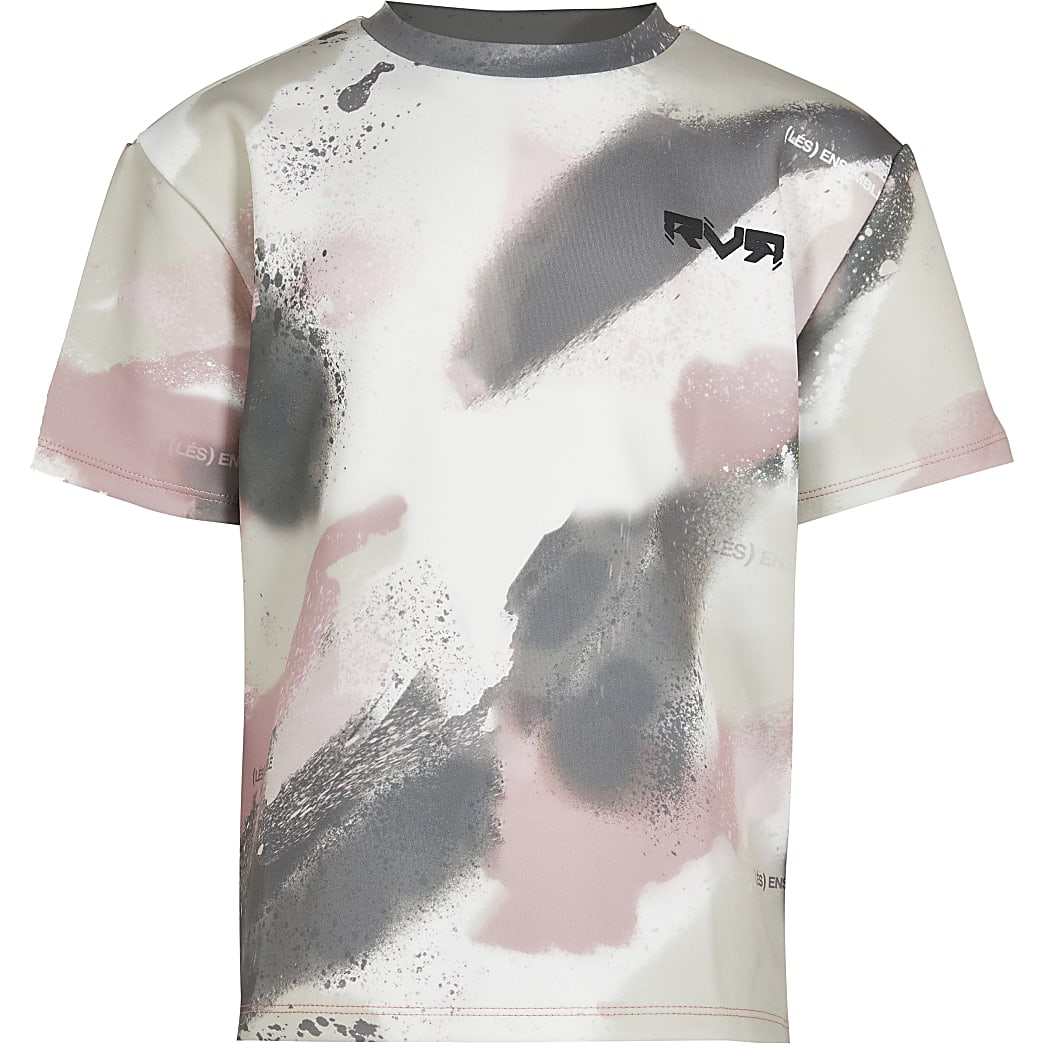 Boys pink brush camo print t-shirt