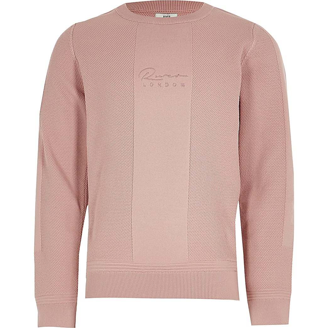 Boys pink knitted jumper