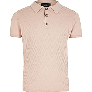 Boys pink knitted polo shirt