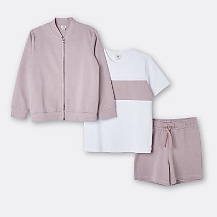 Boys pink Maison Riviera 3 piece outfit