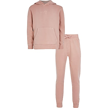 Boys pink 'Masion riviera' hoodie outfit