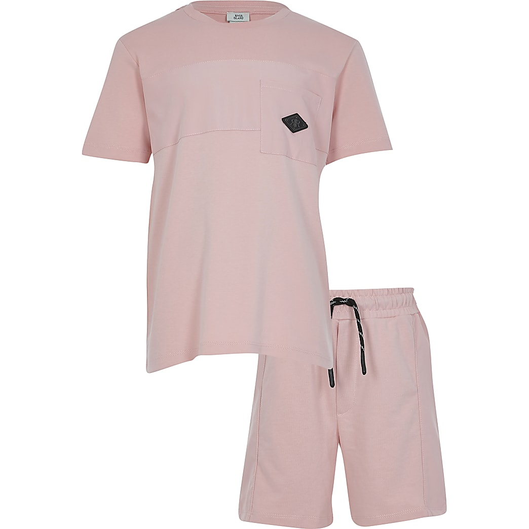 Boys pink nylon pocket t-shirt outfit