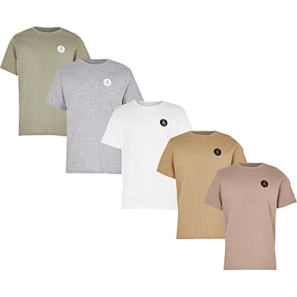 Boys pink pastel 5 pack t-shirts