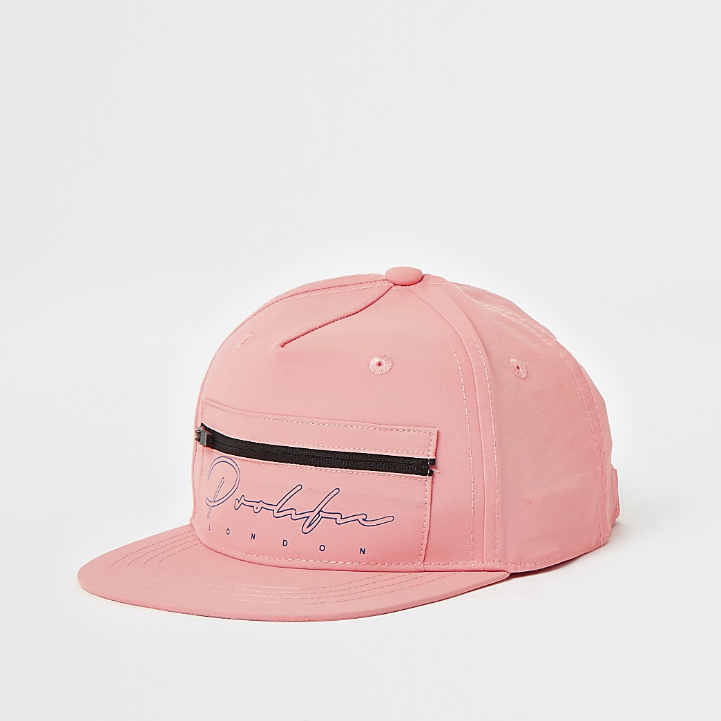 Boys pink Prolific zip front flat cap