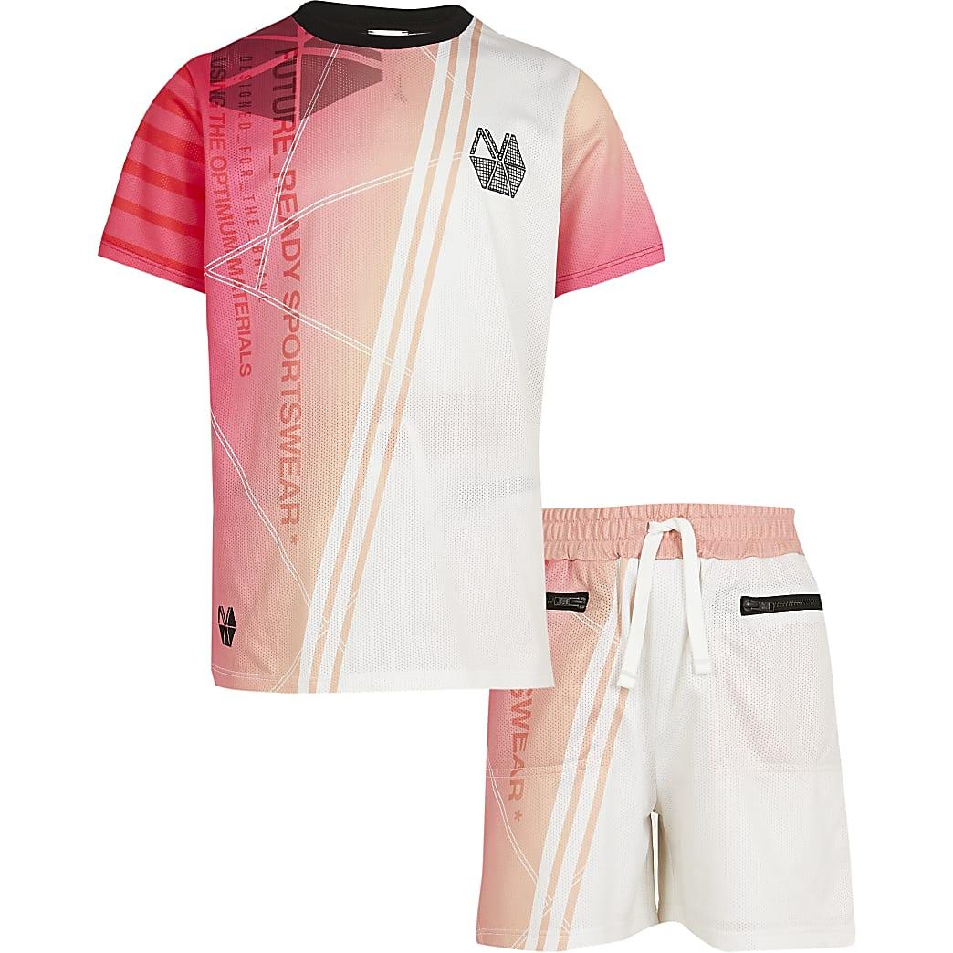 Boys pink RI Active mesh t-shirt outfit