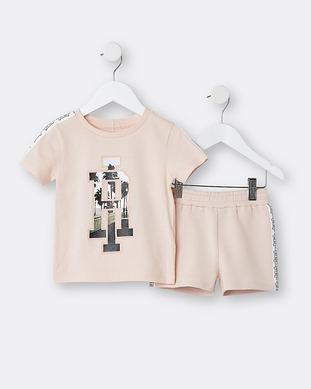 Boys pink RI palm t-shirt and short set