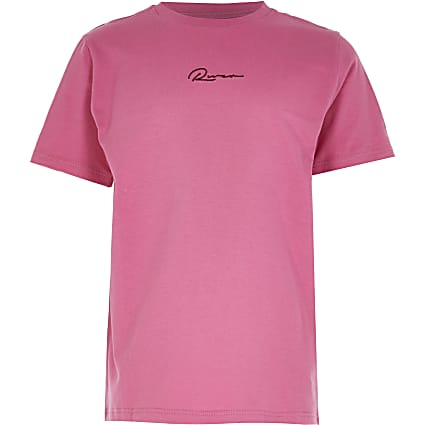 Boys pink 'River' print t-shirt
