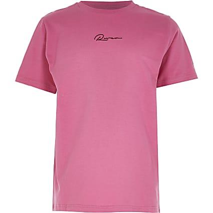 Boys pink 'River' print t-shirt