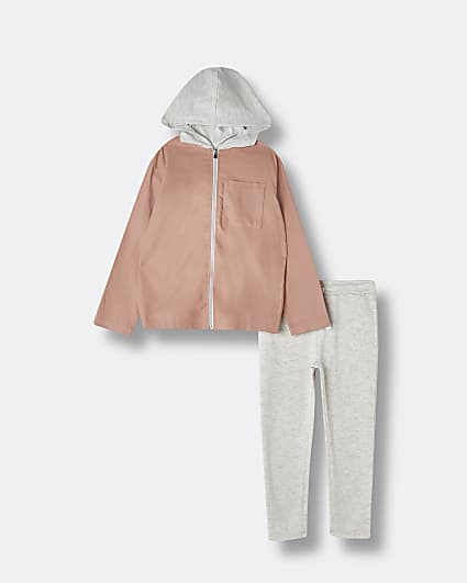 Boys pink 'River' shacket and joggers outfit