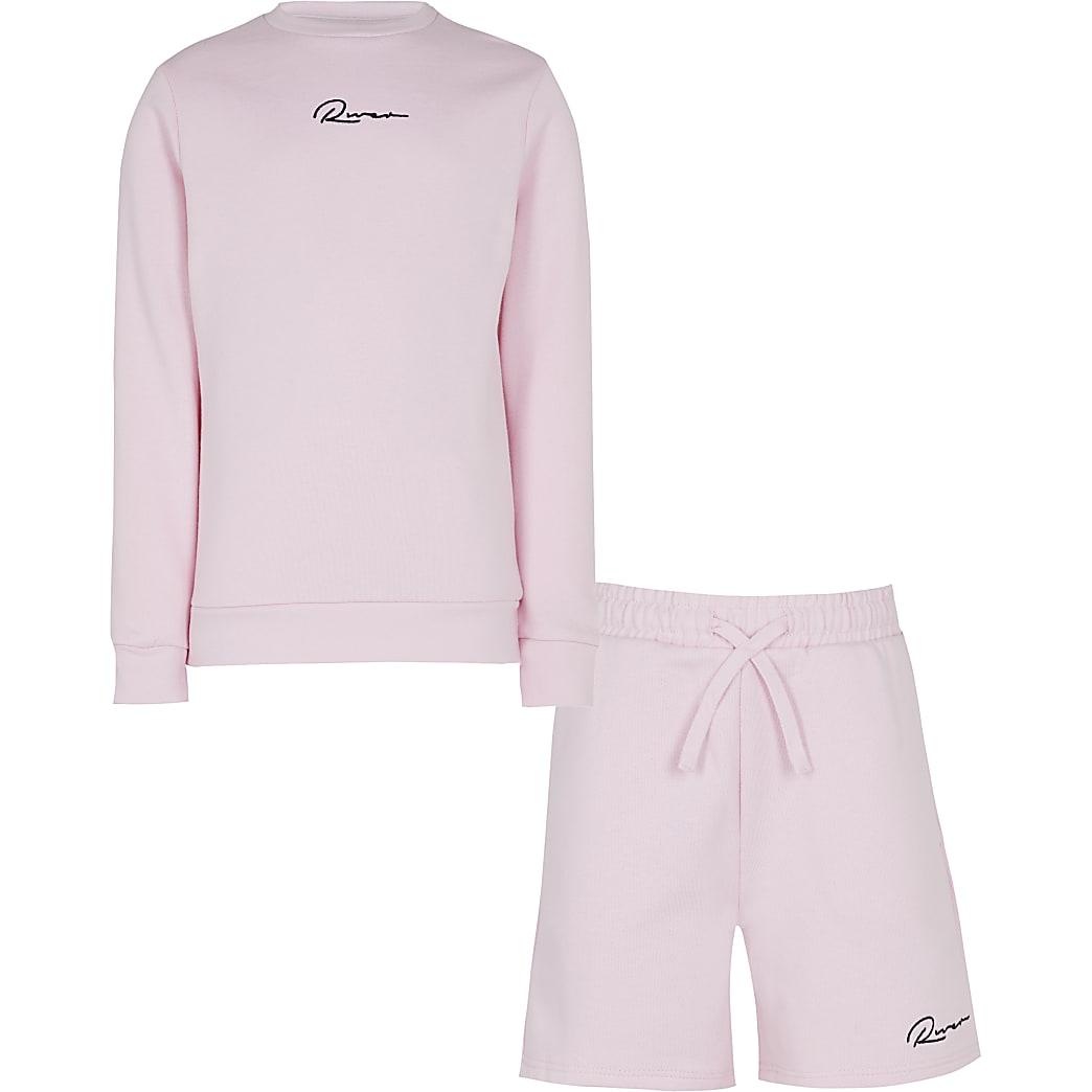 Boys pink River sweatshirt and shorts set