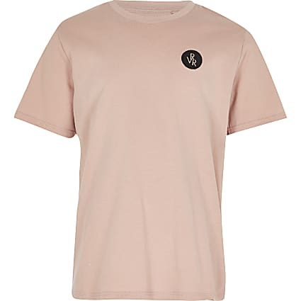 Boys pink RVR chest print t-shirt