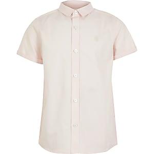 Roze overhemd van keperstof met korte mouwen voor jongens