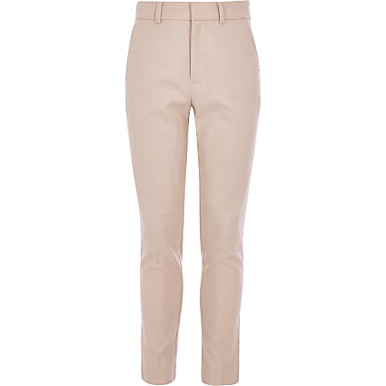 Boys pink slim fit suit trousers
