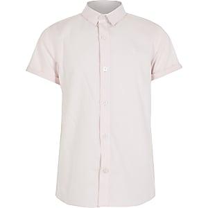 Roze gestreept overhemd met RI-print en korte mouwen voor jongens
