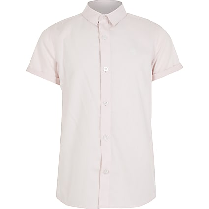 Boys pink stripe RI short sleeve shirt