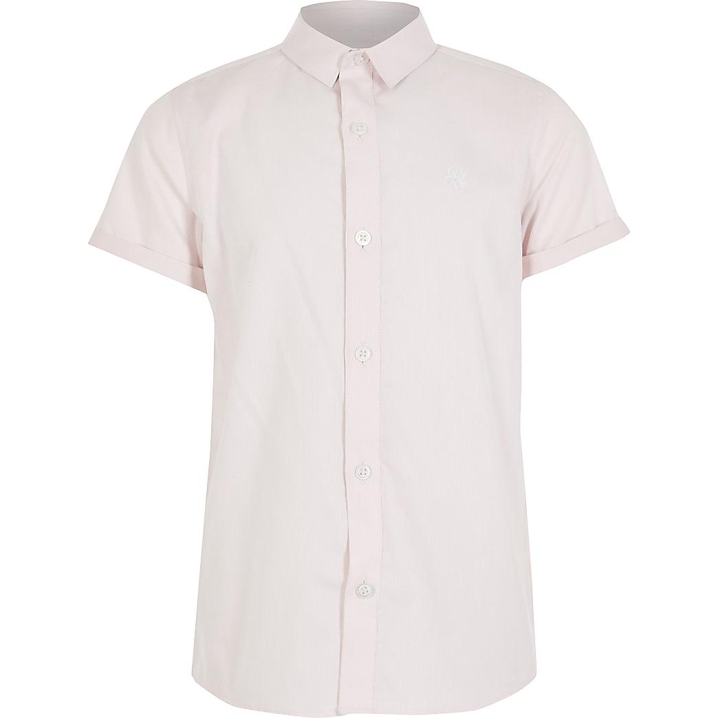 Boys pink stripe RI short sleeve shirt