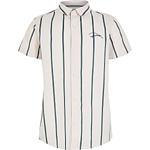Boys pink stripe 'River' shirt