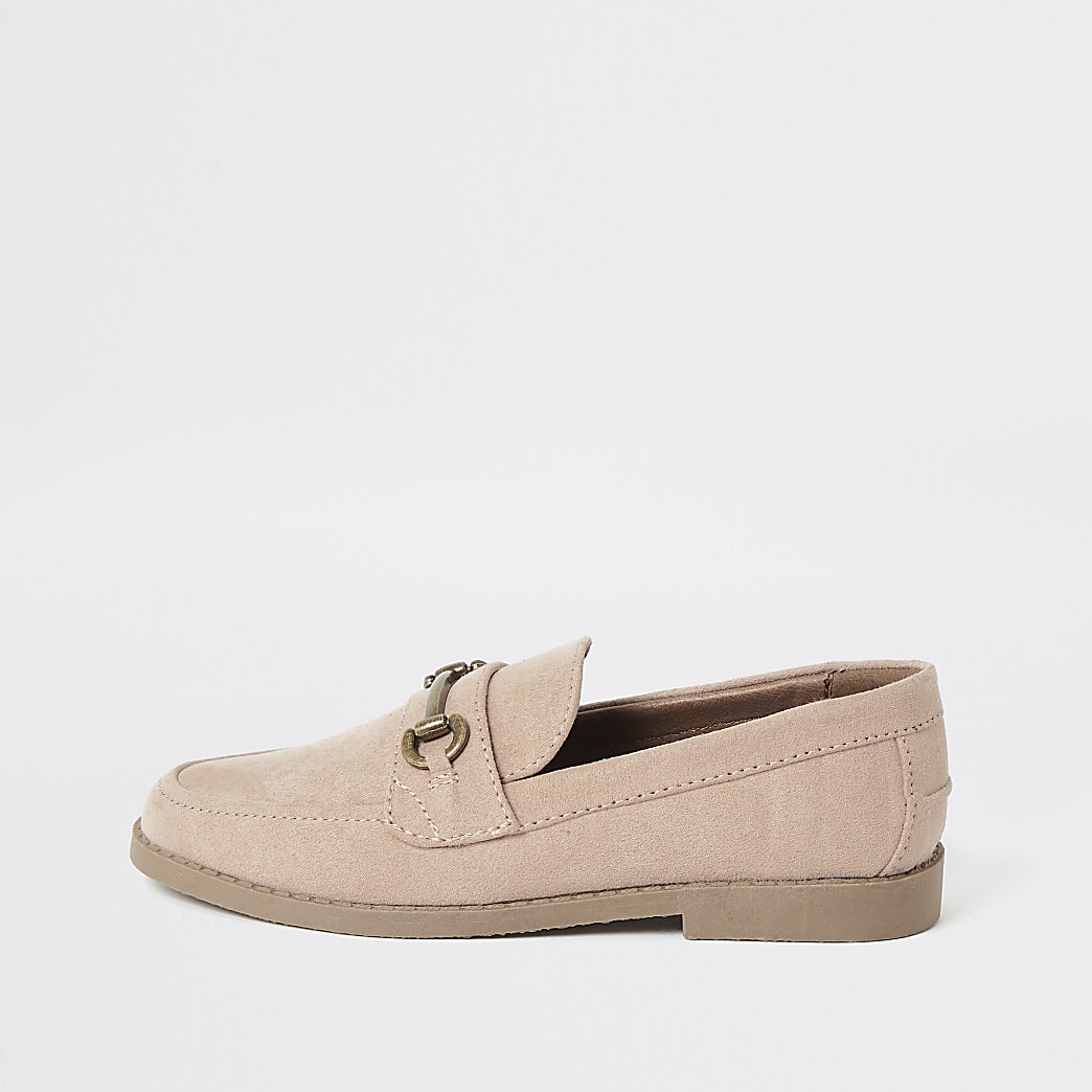 Boys pink suedette snaffle loafers