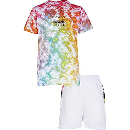 Boys pink tie dye outfit