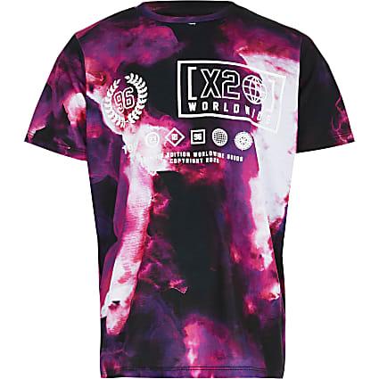 Boys pink tie dye printed t-shirt
