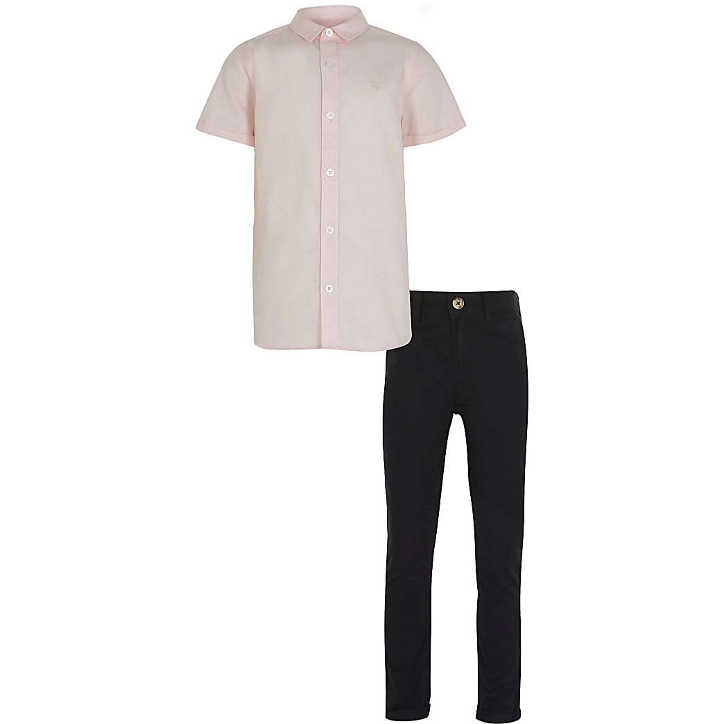 Boys pink twill shirt outfit