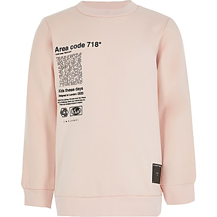 Boys pink 'Undefined' chest print sweatshirt