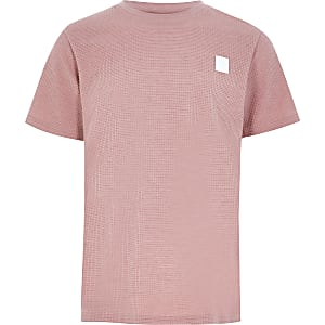 Roze T-shirt met wafeldessin voor jongens