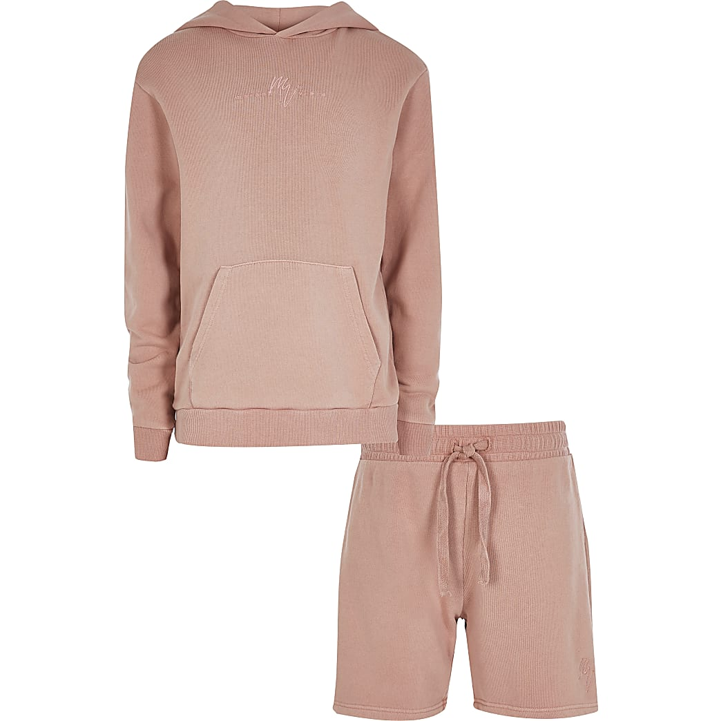 Boys pink washed Hoody Set