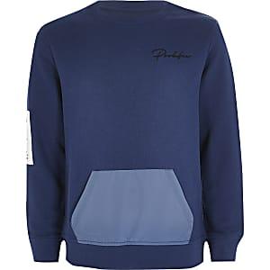 """Blaues Sweatshirt""""Prolific"""" mit kontrastierten Taschen für Jungen"""