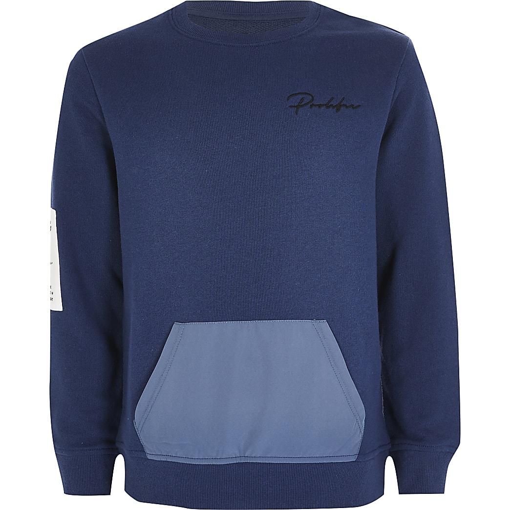 Prolific - Blauwe sweater met contrasterende buidel voor jongens