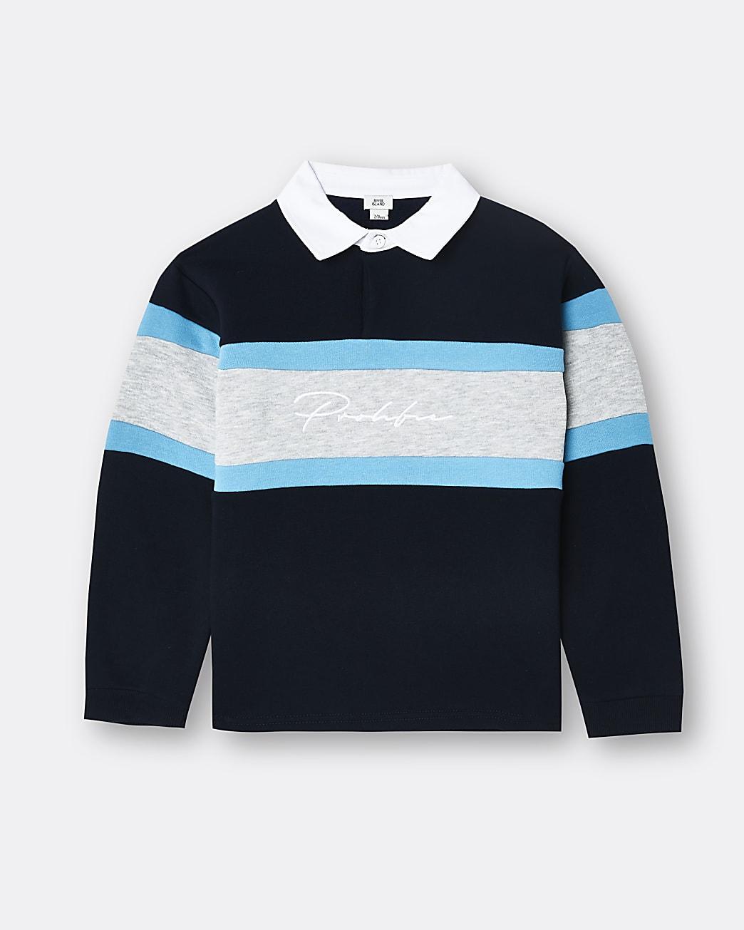 Boys Prolific navy colour block polo shirt