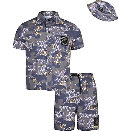 Boys purple camo shirt outfit with bucket hat