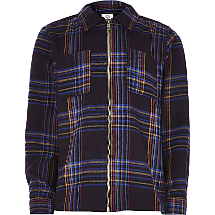 Boys purple check shirt bomber