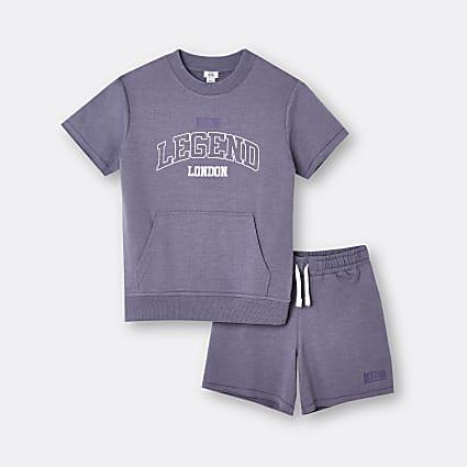 Boys purple 'Legend' top and shorts set