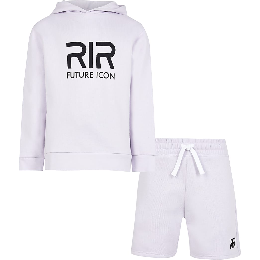 Boys purple RIR hoodie and shorts outfit