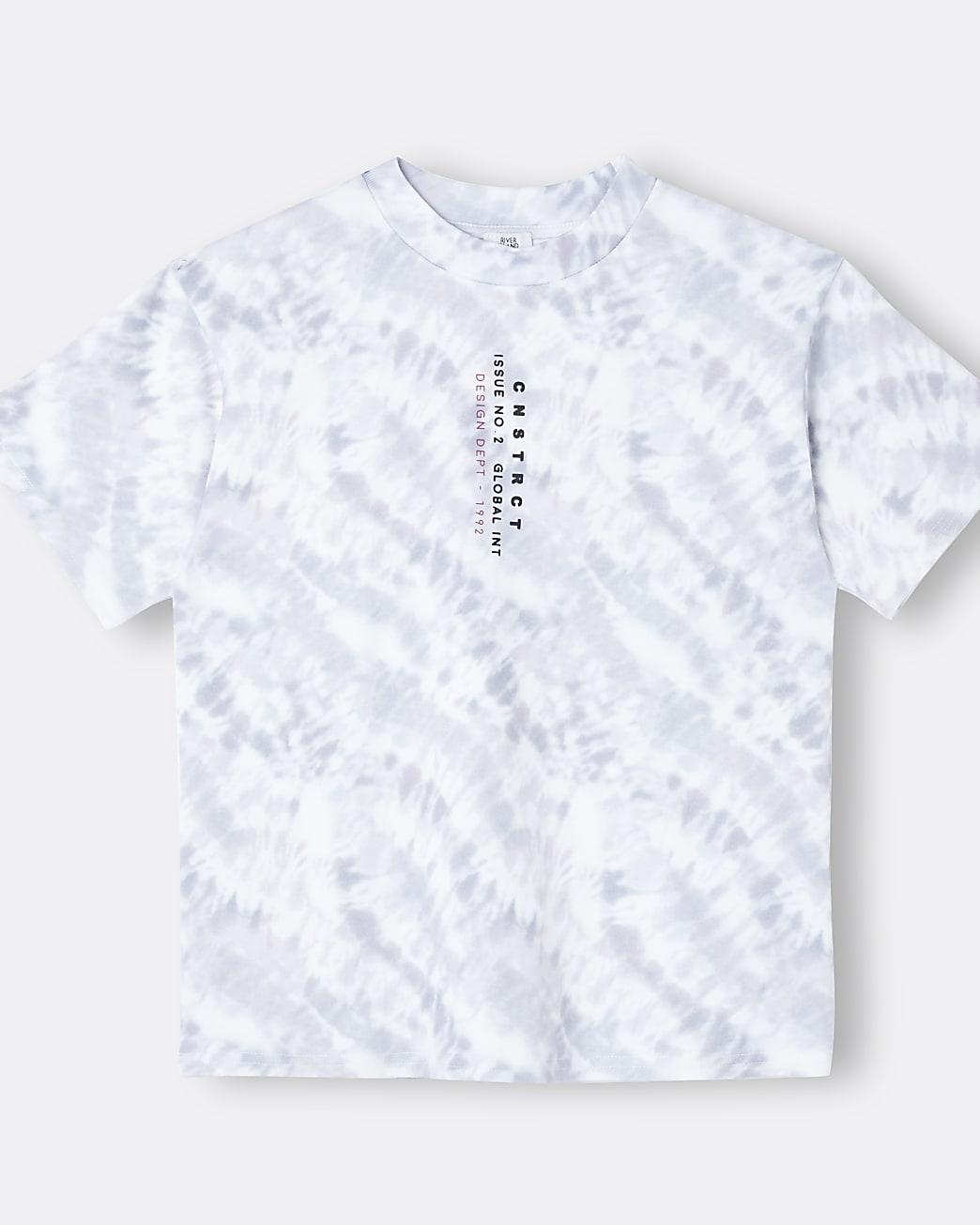 Boys purple tie dye back print t-shirt