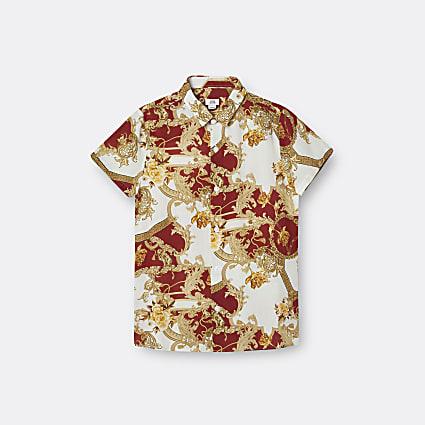 Boys red baroque print shirt
