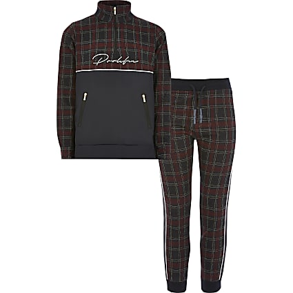 Boys red check Prolific zip sweatshirt outfit