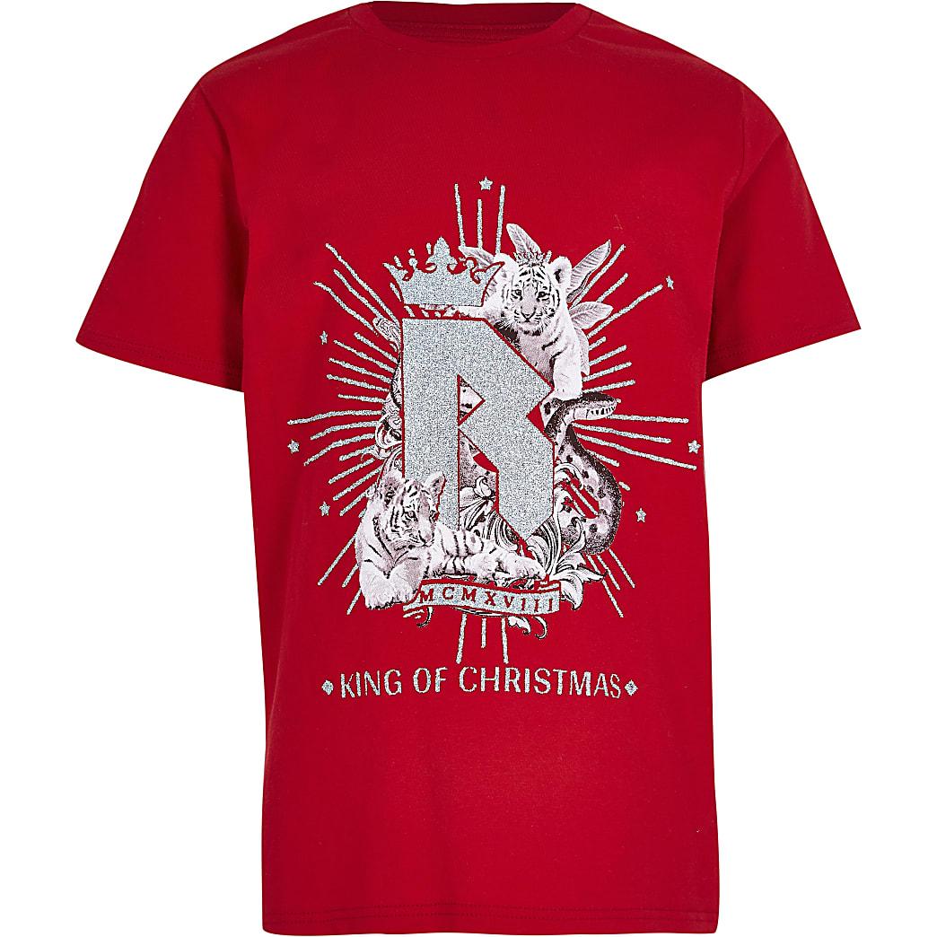 Boys red 'Christmas Prince' t-shirt