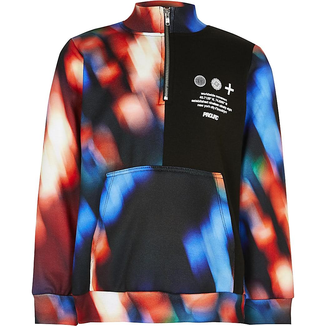 Boys red colour block funnel neck sweatshirt