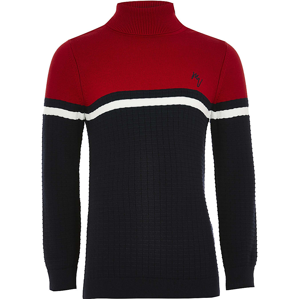 Boys red colour block roll neck jumper
