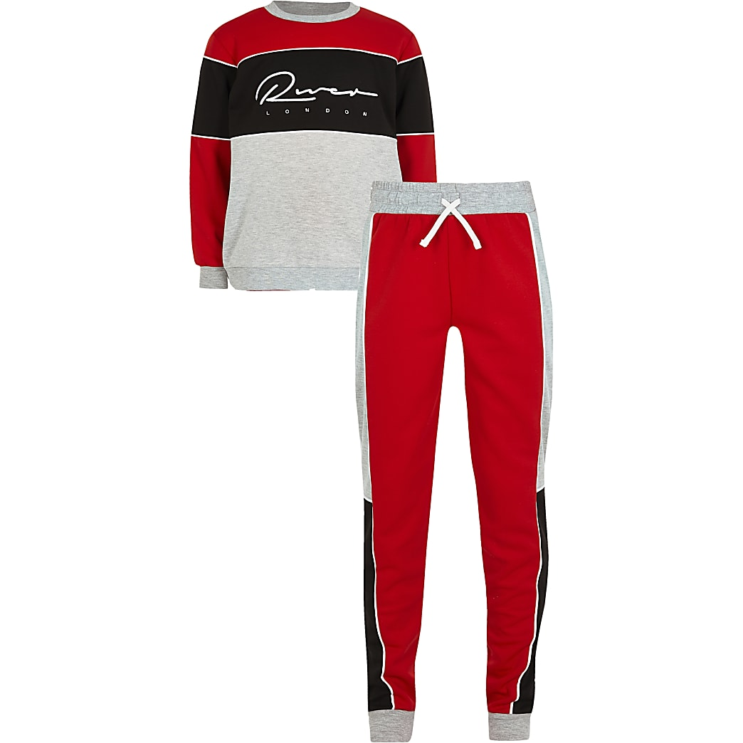 Boys red colour blocked 'River' tracksuit