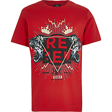 Boys red embellished t-shirt