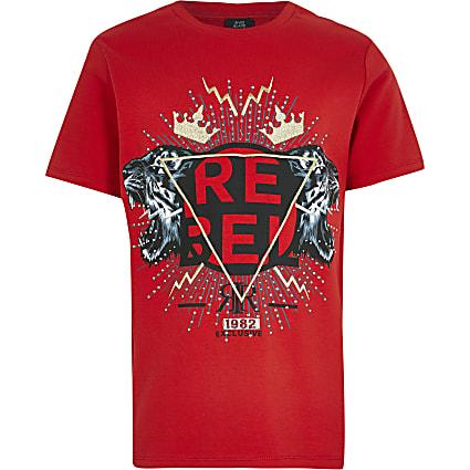 Boys red embellished t-shirt