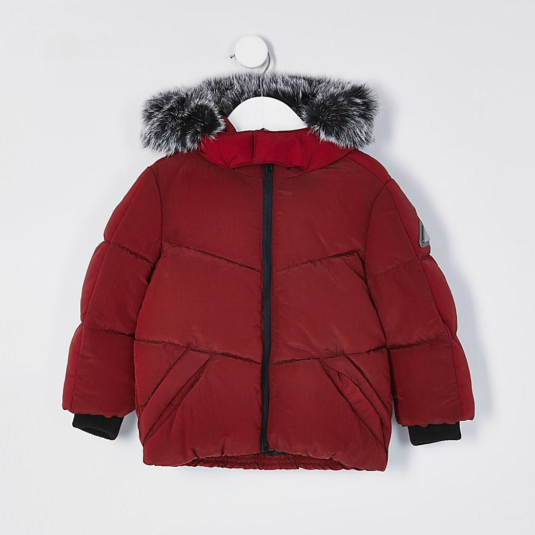 Boys red faux fur padded coat