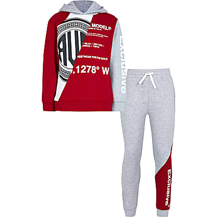 Boys red graphic hoodie 2 piece outfit