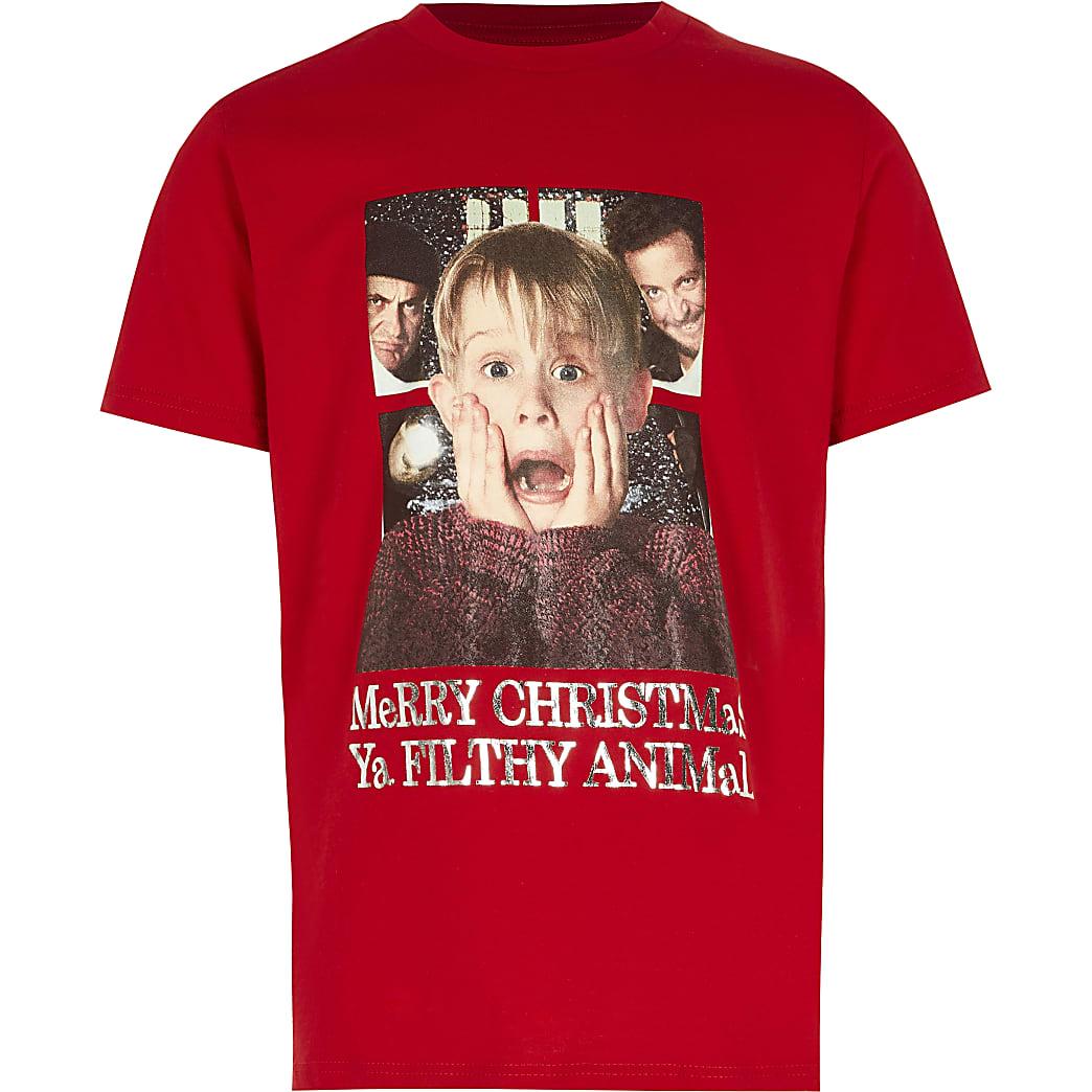 Boys red Home Alone print Christmas T-shirt