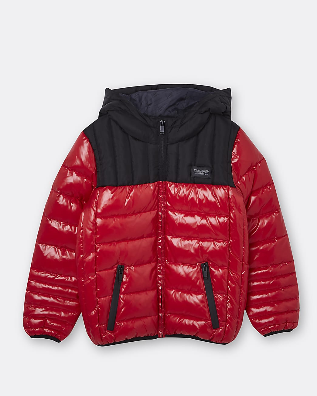 Boys red hooded puffer coat